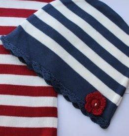 Dirkje Dirkje Muts d.blauw en sjaal rood/off white