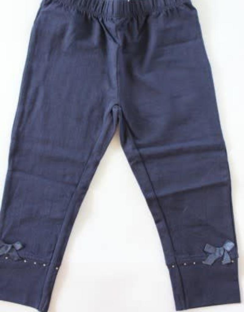 Blue Seven Legging d.blauw met satijnen strikje met strassteentje
