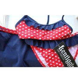 Lentiggini Lentiggini Bikini d.blauw/ rood 3 delig met rokje
