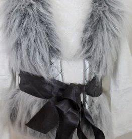 Lofff Lofff Bodywarmer grijs bont met satijnen lint
