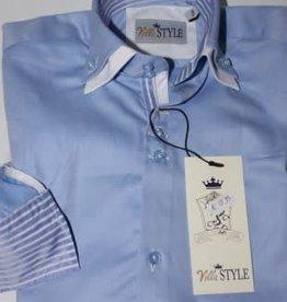 Villa Style Villa Style Hoog boord overhemd licht blauw