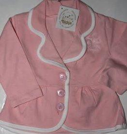 Dirkje Dirkje blazertje roze van tricot met witte bies 2
