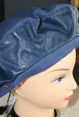 Baret linnen d.blauw met leren band