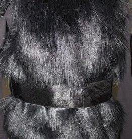 Lofff Lofff Body warmer zwart bont met satijnen strik