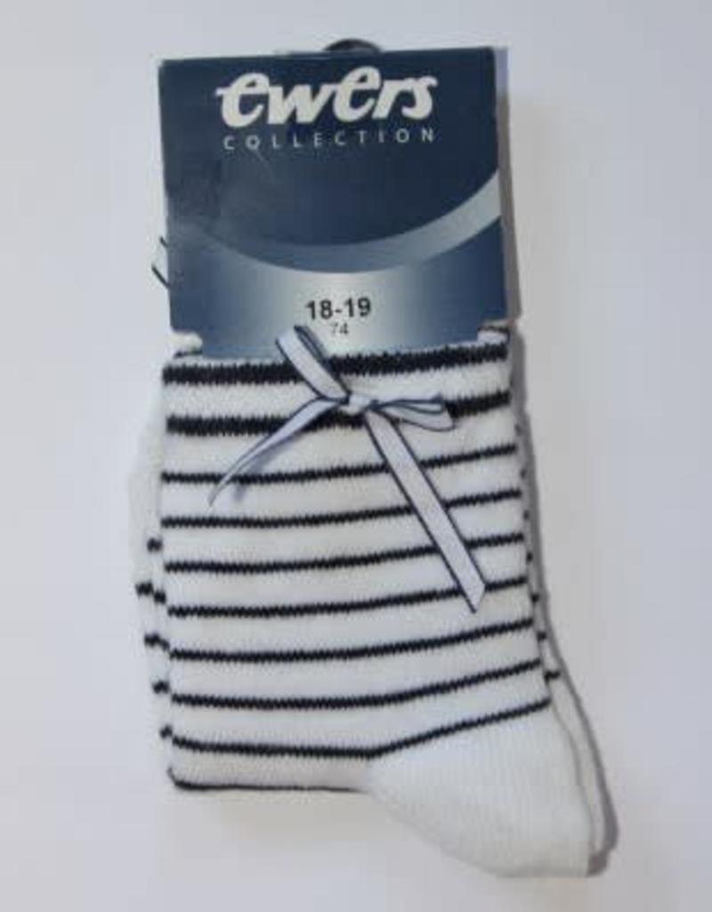 Ewers Ewers Sokje wit met donkerblauwe strepen en wit/blauw strikje