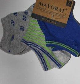 Mayoral Mayoral sokjes enkel 3 paar in blauw/grijs tinten