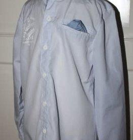 Rumble Rumbl Overhemd fijn lichtblauw/wit streep