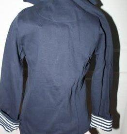 Blue Seven Blazer donkerblauw met wit gestreepte manchetten