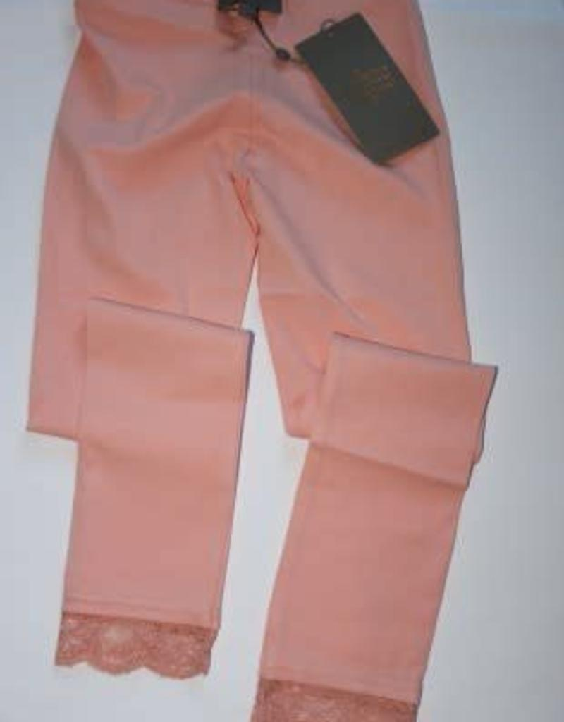 Creamie Creamie Legging zalm met kanten rand