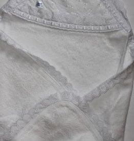 Badcape  wit met kanten rand