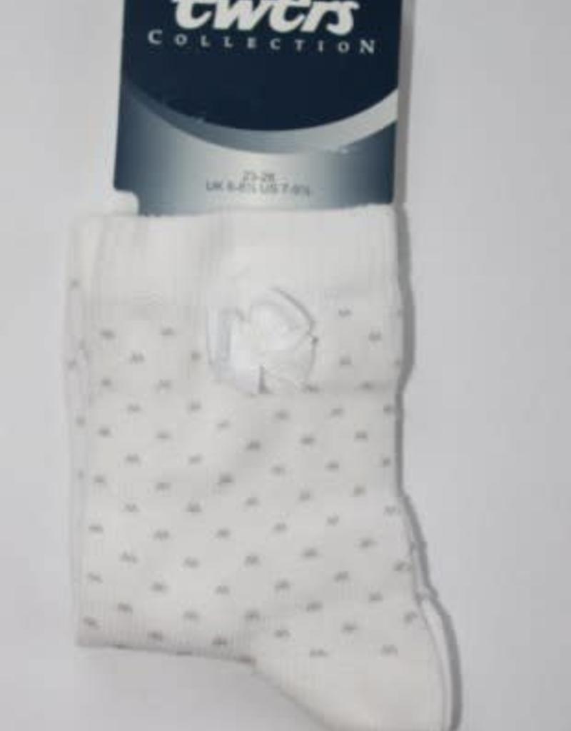 Ewers Ewers Sokje wit met grijs stipje en strikje