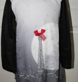 Boboli Boboli Jurk Paris zwart met zilveren stipjes en glitters en rood strikje