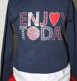 Boboli Boboli Shirt donkerblauw met wit katoenen rand