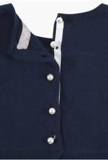 Boboli Boboli Jurk donkerblauw met plisee rok op de onder achterkant
