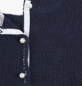 Boboli Boboli Trui gebreid donkerblauw met parel hart en  witte pareltjes op het achterpand