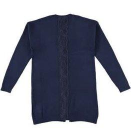 IDO Ido Vest lang donker blauw met kanten rand op het achterpand