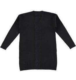 IDO IDO Vest lang gebreid zwart met kanten rand op het achterpand