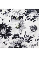 Boboli Boboli Jurk wit met schubbenmet donkerblauwe bloemen