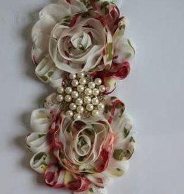 Haarband wit kant met gekleurde bloemen en pareltjes
