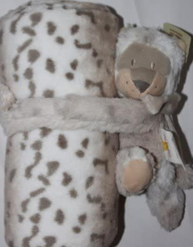 Deken fleece off white met tijger print en knuffel beertje