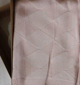 Deken licht roze gebreid 100 x 100 cm