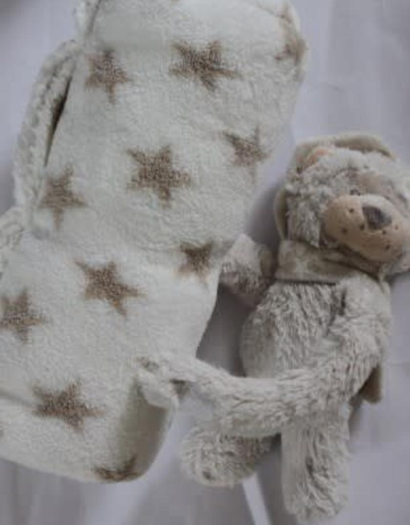 Deken fleece off white met sterren en knuffel beertje