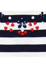Boboli Boboli Jurk donkerblauw wit gestreept met rode steentjes