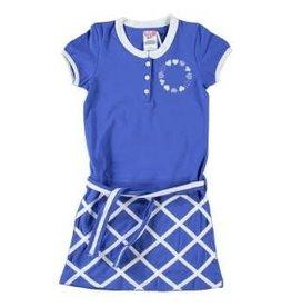 Lofff Lofff Jurk van in een helderblauwe kleur met witte sierbanden en een hartjesopdruk. - lichte stretch in de stof
