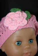 Baret Baby/meisje roze gehaakt met bloem