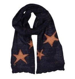 Boboli Boboli Sjaal gebreid donkerblauw met cognac sterren
