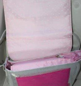 Zebra Souza Tas zilver met roze bies en hard roze zachte voorvak
