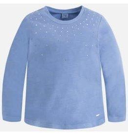Mayoral Mayoral Shirt licht blauw met glitter steentjes