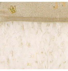 Boboli Boboli Jurkje Prinses goud gebreid met tuille rokje