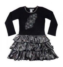 Lofff Lofff Jurk zwart met zilveren opdruk en roesel rok van soepel tricot