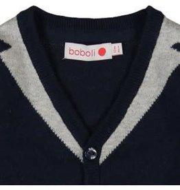 Boboli Boboli Vestje gebreid in donkerblauw met grijze accenten