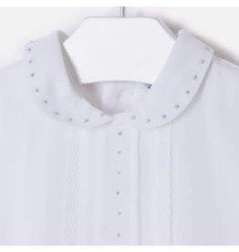 Mayoral Blouse off white met strass steentjes en kanten rand langs voorpand