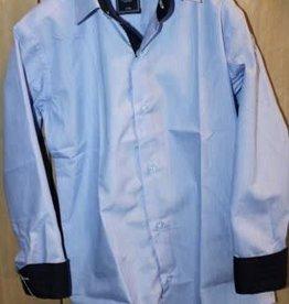 Overhemd licht blauw met donkerblauw in manchetten en boord