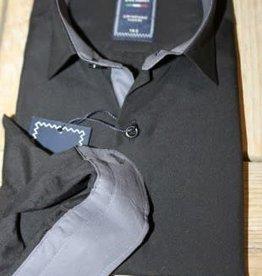 Overhemd zwart met grijze manchetten en boord