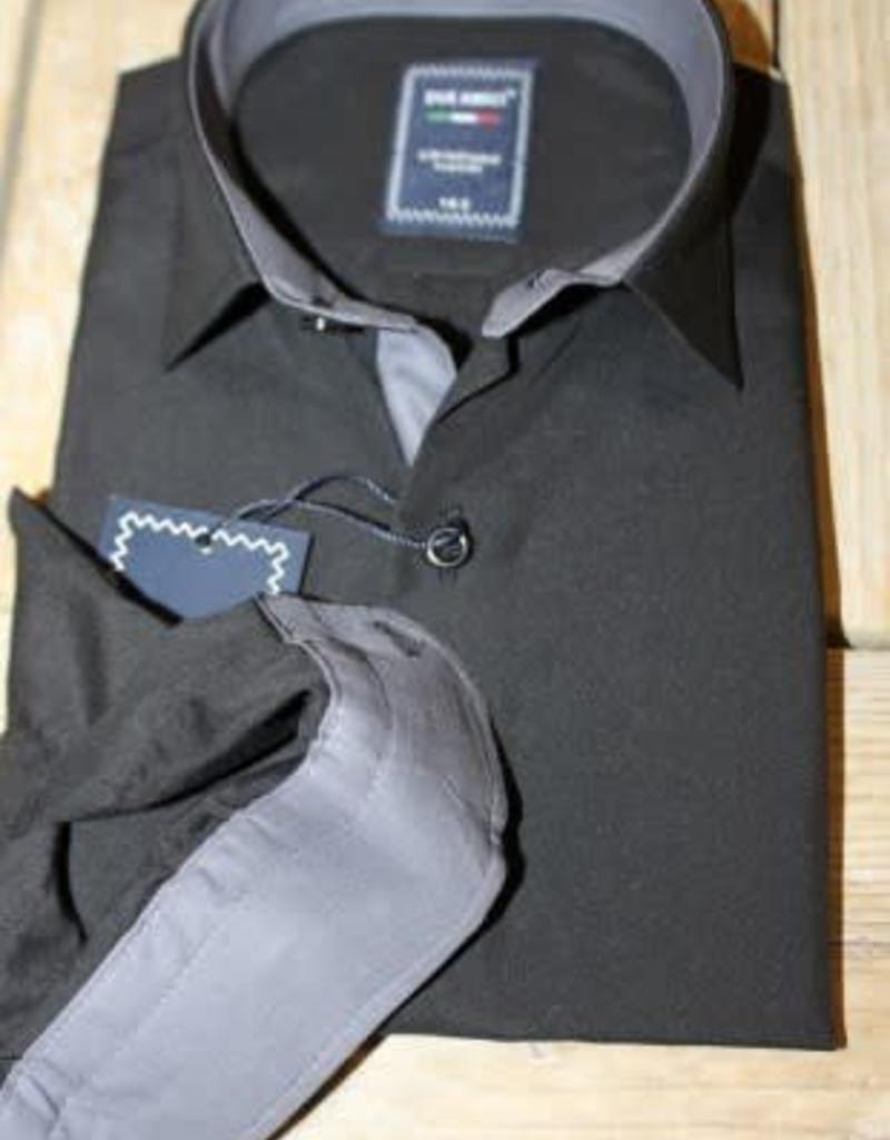 b0c985fc55e Overhemd zwart met grijze manchetten en boord - Villa Rose