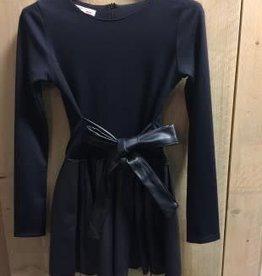 Villa jurk donkerblauw met leren rok