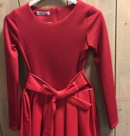 Villa jurk rood met leren rok