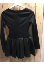 Villa jurk zwart met leren rok