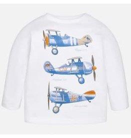 Mayoral Mayoral Shirt vliegtuig lange mouw wit