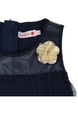 Boboli Boboli Jurk Donkerblauw leer bovenstuk met tule en roos