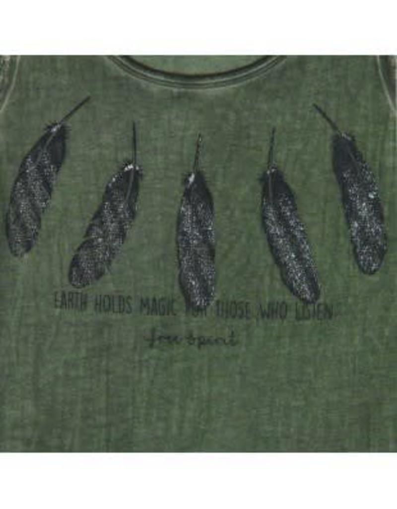 Boboli Boboli Shirt groen met veertjes