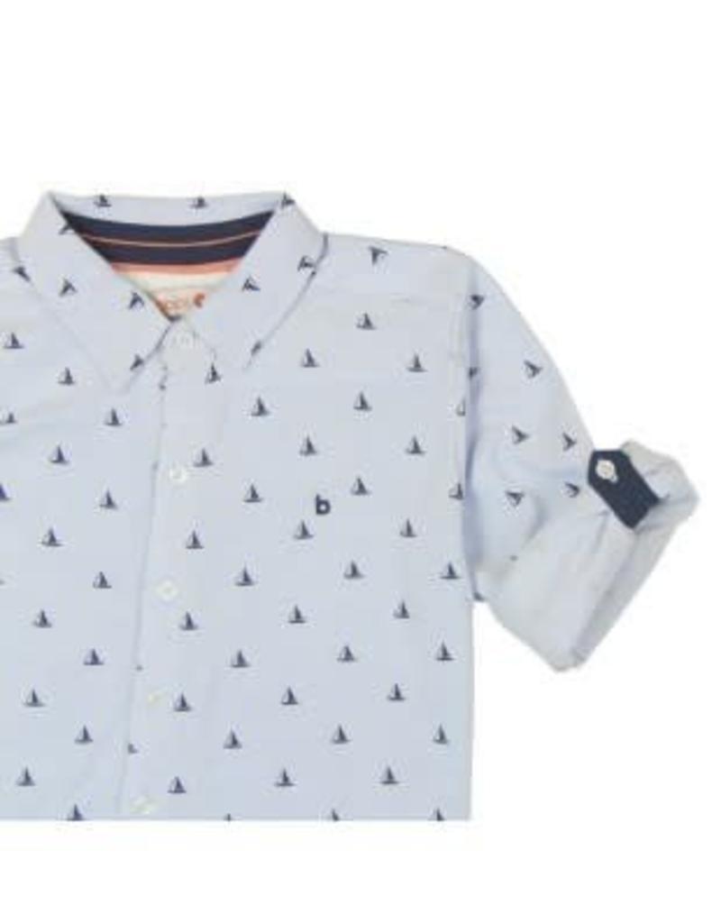 Boboli Boboli Overhemd lichtblauw met donkerblauw bootje en armstukken