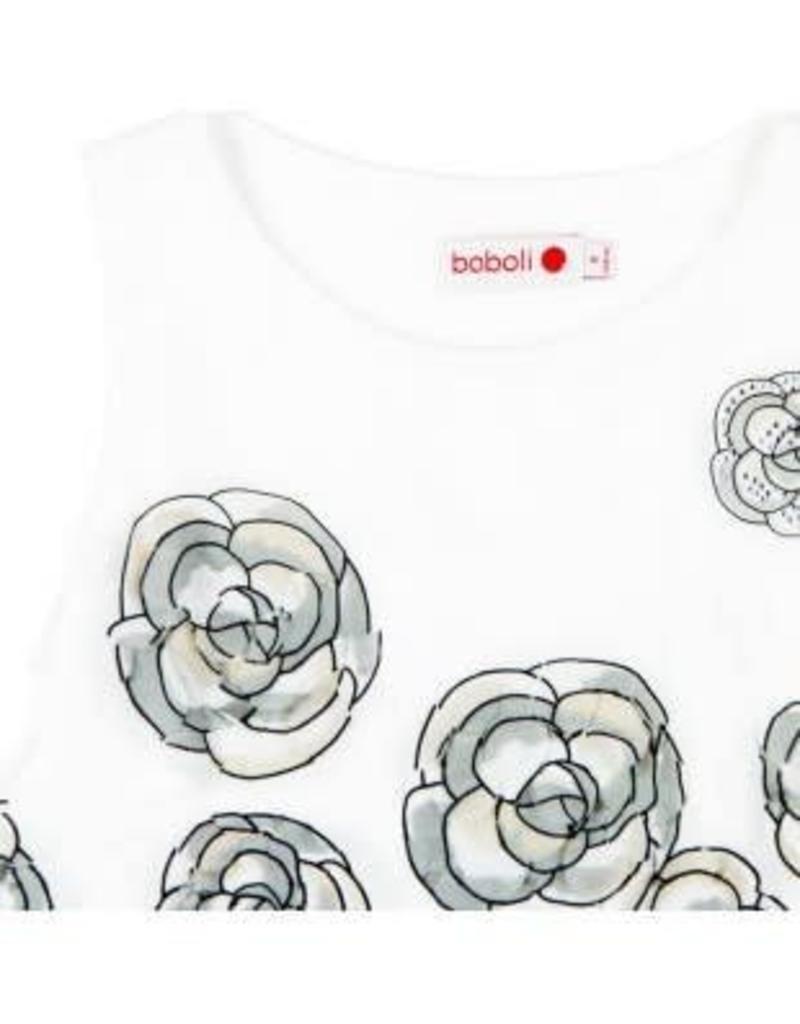 Boboli Boboli jurk wit met goud kleurige bloemen