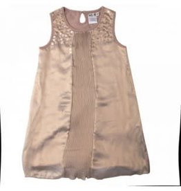 Lofff Lofff Jurk plisee in glanzende brons kleurige stof