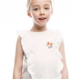 Rosalita Rossalita Shirt wit met roezel en zonnebloem