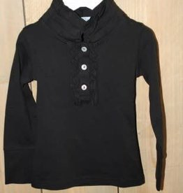 Porto Azul Porto Azul Shirt zwart met roesel kraagje